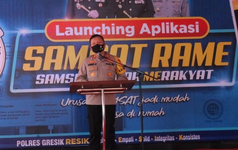 Polres Gresik Launching Aplikasi Samsat Rame
